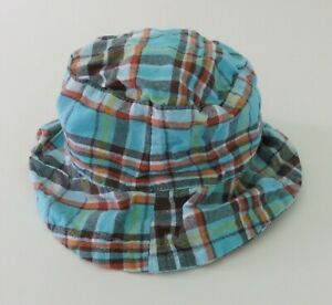 Boys Plaid Baby Sun Hat 3-6 Months Turquoise Brown #2