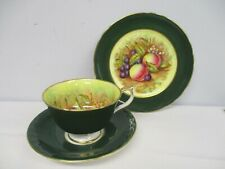 VTG AYNSLEY SIGNED D JONES ORCHARD FRUIT GREEN TEA CUP SAUCER DESSERT TRIO
