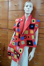 FELTED WOOL RED LONG SCARF Oversized Abstract Shawl Unique Gift For Women