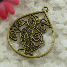 Free Ship 48 pieces bronze plated owl pendant 44x34mm #1235