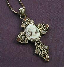 Antique VTG Style Topaz Brown Rhinestone Designer Cameo Cross Necklace Pendant