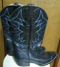 Montana Azul  Vaquero Black Leather Cowboy Boots, Vintage,  Men's 12