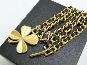 CHANEL Accessory Chain Belt Clover Motif 95 P Leather Metal France 38180257200 K