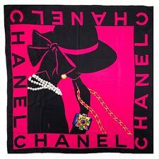 Authentic CHANEL Vintage Mademoiselle Silk Scarf Logo Bijou Bangle CC  Rank A