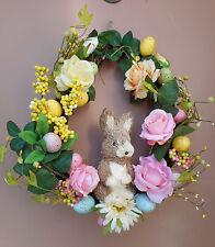 "17"" Sisal Rabbit Easter Egg Door Grapevine Wreath"