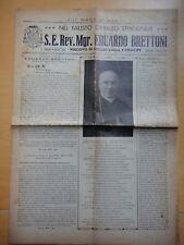 1936-S.E.Rev.Mgr.EDUARDO BRETTONI Vescovo di REGGIO EMILIA-FIRENZE-NUMERO UNICO