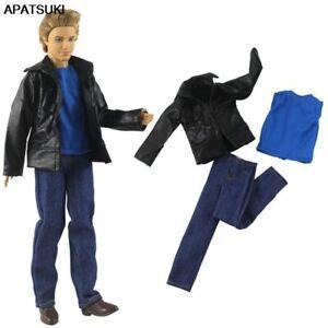 Fashion Clothes Set For Ken Boy Doll Outfits Blue Tops Shirt Denim Pants Coat