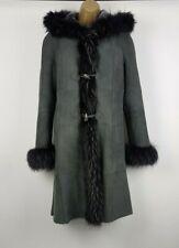 Laura Mayer Womens Grey 100% Shearling Sheepskin Hooded Coat UK 12 Winter