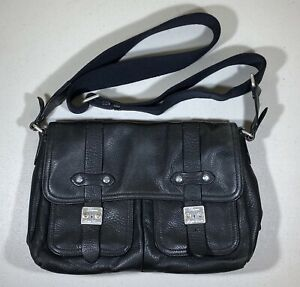 Polo Ralph Lauren Pebbled Black Leather Tote Briefcase Messenger RRL
