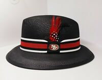 Mens Black Forty Niners center crease Lowrider  hat fedora Derby