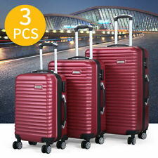 3 Piece Luggage Set Hard-side Travel Bag ABS+PC Trolley Suitcase 4 Wheels Red