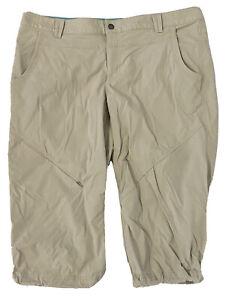 Eddie Bauer Travex Capris Pants Khaki Beige Nylon 12P Zipper Pockets
