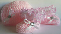 BABY GIRLS HAND KNITTED/ CROCHET HAT AND BOOTS/BOOTIES- PINK/WHITE 0-3 MONTHS