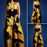 Oversize Femme Sans Manche Revers Imprimer Longue Plage Droit Robe Dresse Maxi
