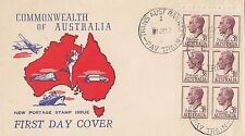 Stamp Australia 3&1/2d KGV definitive booklet pane of 6 Wide World generic FDC