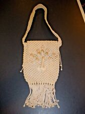 "Macrame Shoulder Bag with beads & fringe 7"" X 9"" not including fringe or handle"