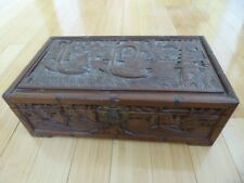 Antique Chinese export deep carved Boats wood document jewelry box chest 18x10""