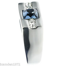 Sleek Cz Accented Simulated Blue Sapphire Stainless Steel Men's Ring Size 10