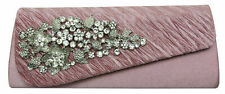 lady's diamante evening clutch bags floral brooch black silver gold pink purple