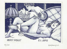Paolo Rovegno érotique exlibris éduque érotique de Nude Bed Time etching c3 sign.
