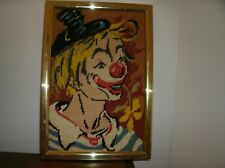 "Vintage Finished Needlepoint Clown Handmade Framed Approx 13"" x 10"""