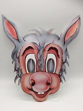 Vintage Halloween Mask Paper Card Donkey Man Boy Creepy Scary Weird Mythology