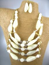 Gorgeous Chunky White Beads Fashion Necklace Earrings Costume Women Jewelry