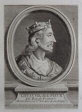 Antique Print Gravure Portrait Louis VII dit Le Pieux Boizot Fiquet