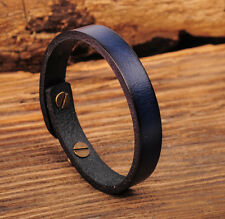 Ng370 Blue Simply Cute Single Band Genuine Leather Bracelet Wristband Women's