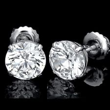 14K Solid White Gold Studs Screw-Back 7.00 Ct Round Cut Created Diamond Earrings