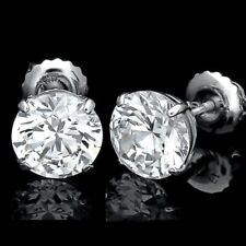 7.00 CT ROUND CUT CREATED DIAMOND EARRINGS 14K SOLID WHITE GOLD STUDS SCREW-BACK
