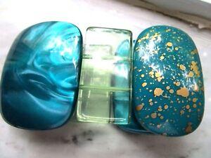RUNWAY MARBLE & GOLD SPLASH BLUE WIDE SLAT BRACELET STRETCH TRANSPARENT GREEN