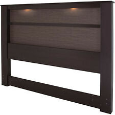 King Size Headboard With Lights Contemporary Modern Wood Brown Bedroom Furniture
