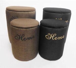 Elegant Round Padded Laundry Basket Storage Box Chest Footstool Cushion Seat