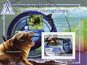 Guinea Wild Animals Stamps 2007 MNH IPY Intl Polar Year Edmund Hillary 1v S/S V