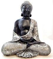 Buddha Statue groß Figur Skulptur silber Feng Shui Dekoration