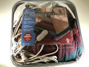 Electric Heated Throw Machine Washable 13-Foot Cord, 50'' X 62'' New Sealed