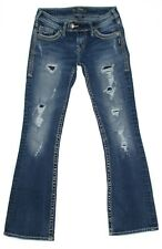 Silver Tuesday Flap Distressed Rip Repair Jeans Womens Size 25x29 Stretch Denim