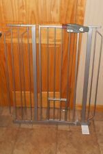 REGALO Tall metal BABY Gate with small dog door  SILVER  Fits 29.5 to 40 in