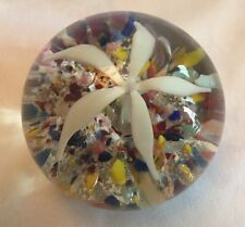 Vintage Flower Paperweight Multi Color Base