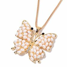 """BUTTERFLY SIMULATED PEARL WHITE BLACK CRYSTAL GOLD TONE NECKLACE PENDANT 28"""""""