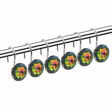 12 Pcs Shower Curtain Hooks Diamond Shape Shower Rings/Round Acrylic Decorative