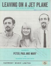 Leaving On A Jet Plane - Peter, Paul and Mary - 1972 Sheet Music