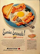 1950 MARATHON Protective Packaging New Bacon Package Eggs Toast  Print Ad