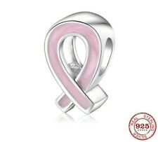 Pink Ribbon Cancer Awareness Charm Genuine Sterling Silver 925 Fits European 💜