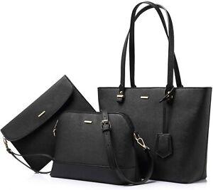 Black Leather Handbag for Women Hobo Shoulder Bag Large Ladies Purse 3-Peice Set