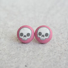 Cute Skull Pink Fabric Button Earrings