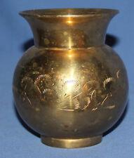 Vintage Hand Made Ornate Floral Engraved Brass Vase
