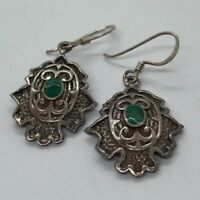 Vintage Sterling Silver Earrings 925 Ornate Malachite Drop Dangle Deco