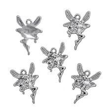 Tibétain Fairy Charms Pendants 22x15mm Argent Antique Pack de 5 (N61/3)